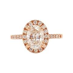 Solid 14 Karat Rose Gold Genuine Oval Diamond 1.00 Carat Halo Ring 2.8g