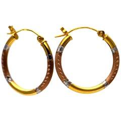 Solid 14 Karat Tri-Tone Hoop Earrings Small 0.9 Grams