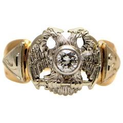 Solid 14 Karat Two-Tone Gold Antique Masonic Genuine Diamond Ring, 9.1 Grams
