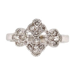 Solid 14 Karat White and Rose Gold Natural Diamond Flower Ring 3.5g