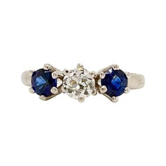 Solid 14 Karat White Gold Genuine Sapphire and Natural Diamond Ring 2.6g