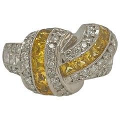 Solid 14 Karat White Gold Genuine Yellow Sapphire and Natural Diamond Ring 14.0g