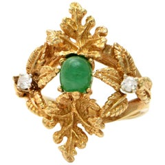 Solid 14 Karat Yellow Gold Antique Emerald and Genuine Diamond Ring, 9.0 Grams