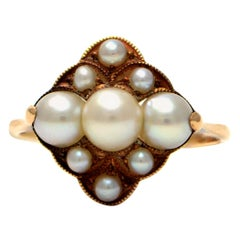 Solid 14 Karat Yellow Gold Antique Pearl Cluster Ring, 2.5g Excellent Condition