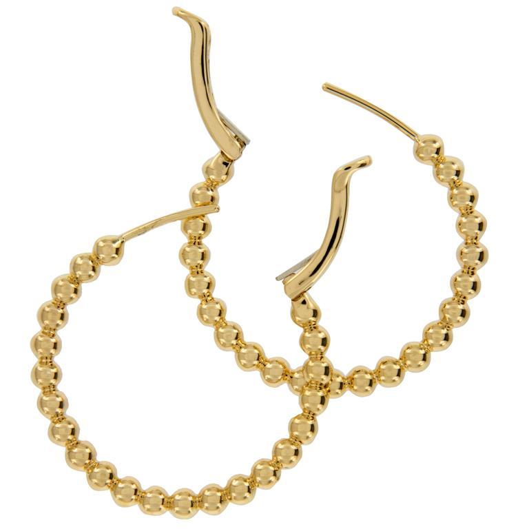 Solid 14 Karat Yellow Gold Beaded Hoop Earrings