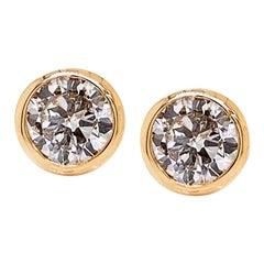 Solid 14 Karat Yellow Gold Bezel Set Diamond Earrings 1.05 Carat 1.0g