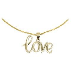 "Solid 14 Karat Yellow Gold ""Love"" Initial Charm Pendant Jewelry"