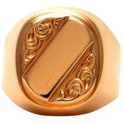 Solid 14 Karat Rose Gold Engravable Signet Ring