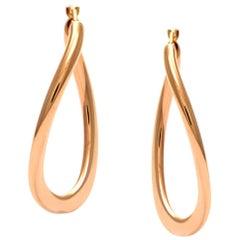 Solid 14 Karat Rose Gold Freeform Hoop Earrings, Excellent Condition