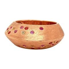Solid 14 Karat Rose Gold Genuine Pink, Yellow and Orange Sapphire Ring 7.8g