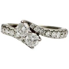 Solid 14 Karat White Gold Natural Diamond Bypass Ring 5.1g