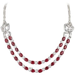 Solid 18 Karat White Gold Natural Diamond Oval Shaped Ruby Necklace G-H Color