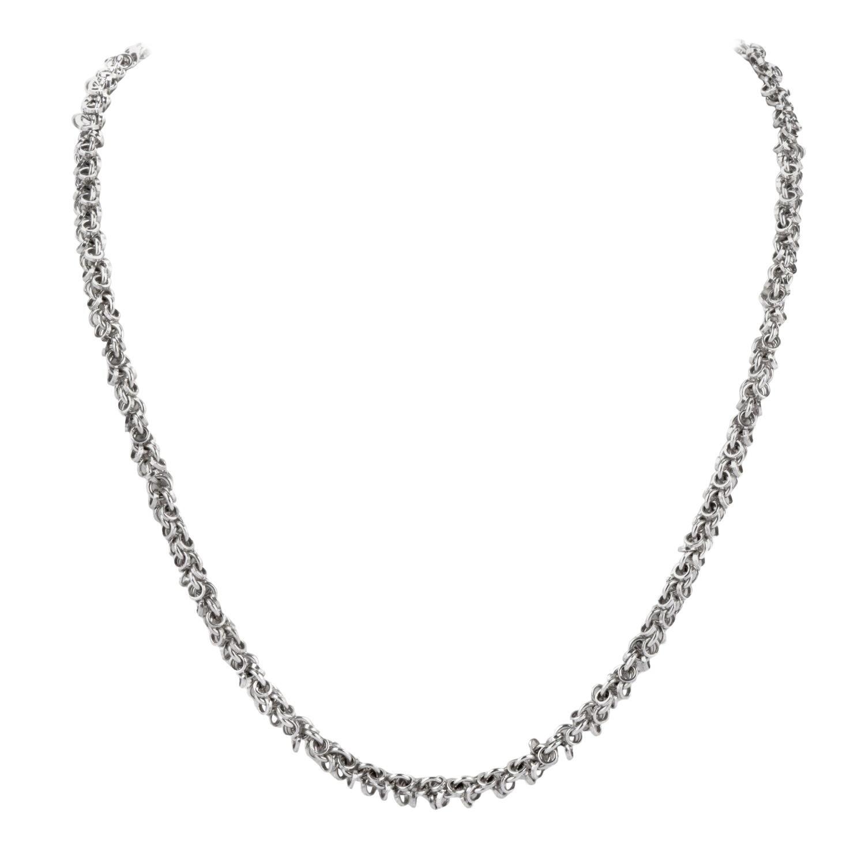 Solid 18 Karat Chain White Gold Link Necklace