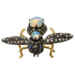 Solid 18 Karat Gold and 925 Diamond, Opal and Sapphire Bee Pin or Pendant 6.8g
