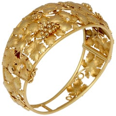 Solid 18 Karat Gold Bangle with Diamonds, Grapes and Vine Leaves Fruit Bracelet