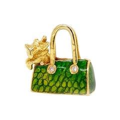 Solid 18 Karat Gold Diamond Green Enamel Purse with Dog Pendant by Hidalgo 10.1g