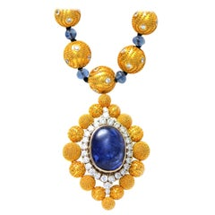 Solid 18 Karat Gold, Genuine Diamond and Sapphire Beaded Pendant Necklace!