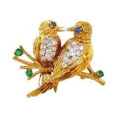 Solid 18 Karat Gold Genuine Diamond, Emerald and Sapphire Two Birds Brooch 10.1g