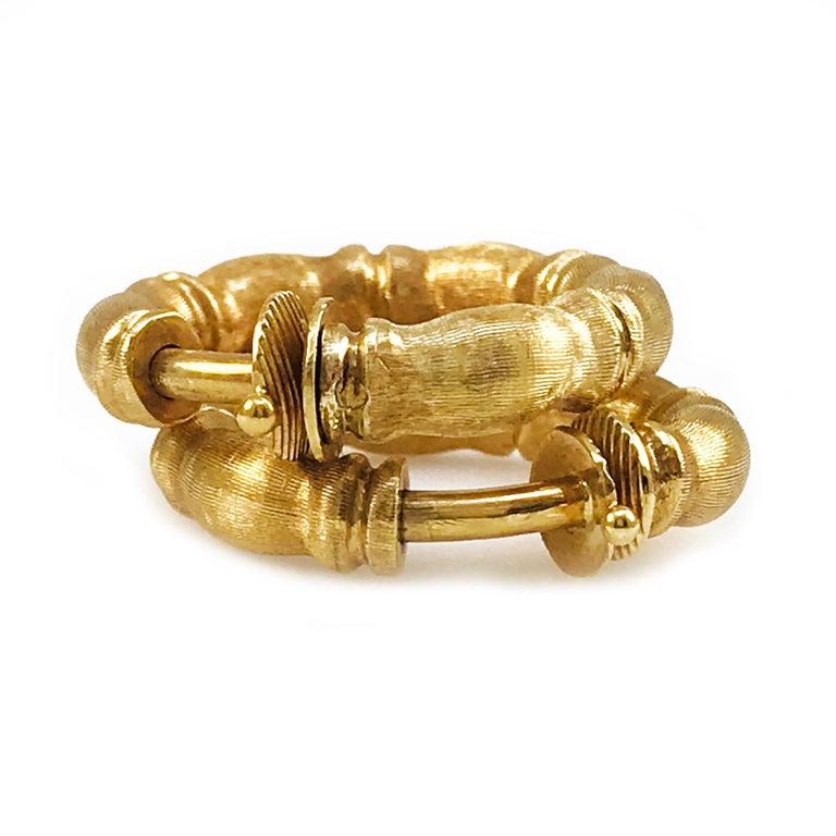 Retro Solid 18 Karat Gold Hoop Earrings For Sale