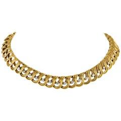 Solid 18 Karat Gold Link and 1.50 Carat Diamond Collar Necklace