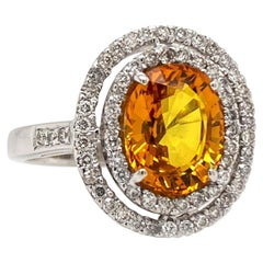 Solid 18 Karat Gold Natural Yellow Sapphire and Genuine Diamond Halo Ring 5.4g