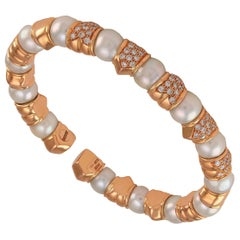 Solid 18 Karat Rose Gold Diamond Pearl Cuff Bracelet