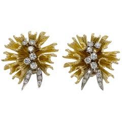 Solid 18 Karat Two-Tone Gold and Diamond Designer Earrings 17.4g 0.75 Carat