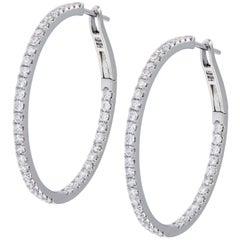 Solid 18 Karat White Gold 1.02 Carat Diamond Inside Outside Hoop Earrings