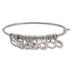 Solid 18 Karat White Gold Diamond Charm Bangle Bracelet 7.73 Carat, 21.9 Grams
