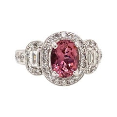 Solid 18 Karat White Gold Genuine Rubellite and Natural Diamond Ring 5.7g