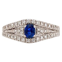 Solid 18 Karat White Gold Genuine Sapphire and Diamond Ring 6.2g