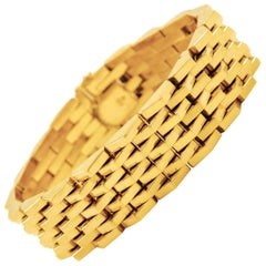 "Solid 18k Yellow Gold Bracelet with Pentagonal Links, 7 1/4"" L"