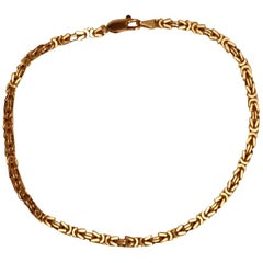 Solid 18 Karat Yellow Gold Byzantine Link Bracelet, 21.2 Grams