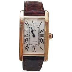 Solid 18 Karat Yellow Gold Cartier Tank Watch, 031795, France, 61825, 17 Jewel