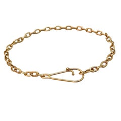 Solid 18 Karat Yellow Gold Chain Bracelet Bangle