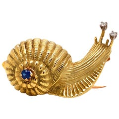 Solid 18 Karat Yellow Gold Diamond and Sapphire Snail Pin/ Brooch 13.7g