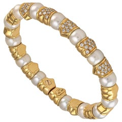 Solid 18 Karat Yellow Gold Diamond Pearl Cuff Bracelet
