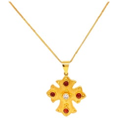 Solid 18 Karat Yellow Gold Genuine Diamond and Garnet Cross Necklace 13.2g