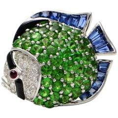 Solid 18K Gold Fish Pendant/Pin with Genuine Diamonds Tsavorite Ruby and Enamel