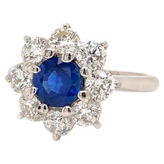 Solid 18 Karat Gold T. Foster & Co Genuine Sapphire & Natural Diamond Ring 4.6g