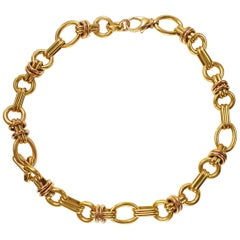 Solid 18 Karat Yellow and Pink Gold Link Necklace