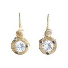 Solid 21-22 Karat Gold Dangle Drop Contemporary Earrings Bridal AB Jewelry, NYC