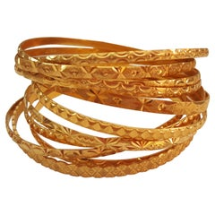 Solid 21kt Gold Bangles, Set of 11, Very Good Condition, Diamond Cut Engraving