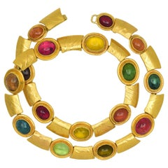 Solid 22 and 18 Karat Yellow Gold Necklace with Rainbow Tourmalines