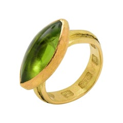 Solid 22 and 18 Karat Yellow Gold Cocktail Ring with Marquise Peridot