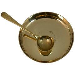 Solid 9 Carat Gold Salt Cellar Dish and Spoon