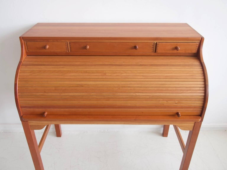 Scandinavian Modern Solid American Cherrywood Writing Desk by Andreas Hansen For Sale