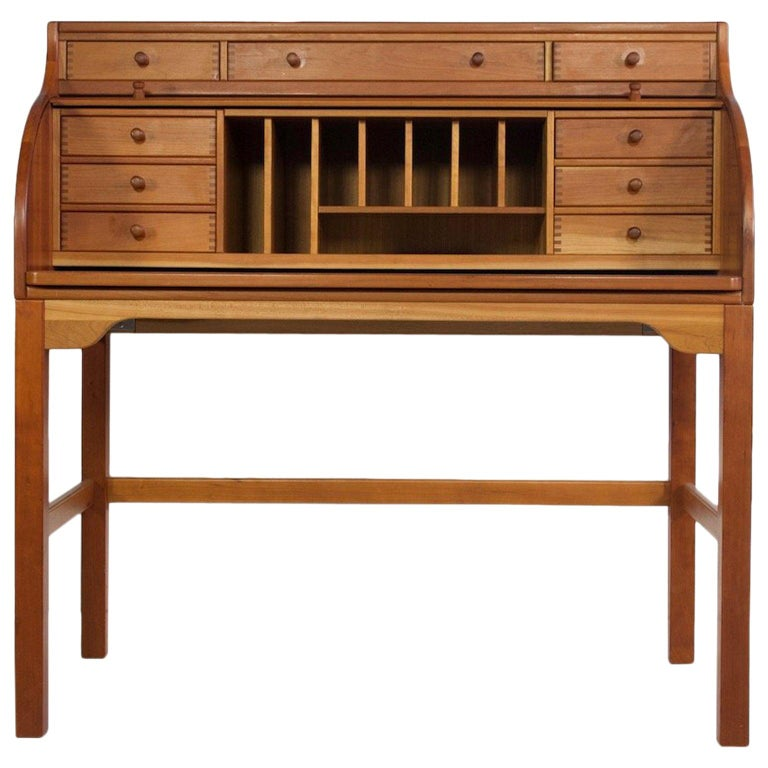 Solid American Cherrywood Writing Desk by Andreas Hansen For Sale