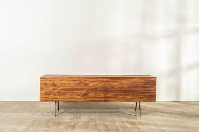 Solid American Walnut Sideboard with Brass Underframe For Sale 5