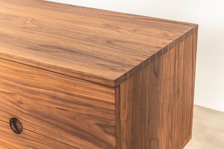 Modern Solid American Walnut Sideboard with Brass Underframe For Sale